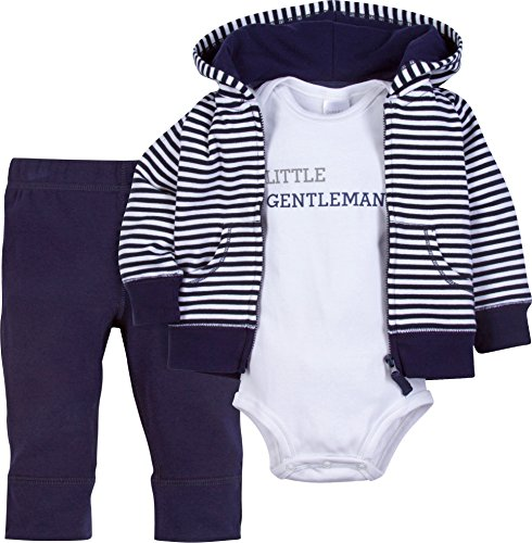 Infant Baby Girl & Boy 3 Piece Set - Hooded Jacket,Pants, and Bodysuit - Cotton- Easy Snaps (Little Gentleman, 3 Months)