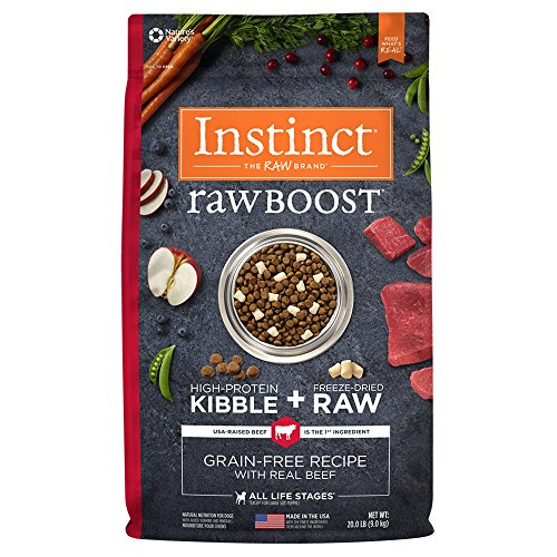 Instinct Raw Boost Grain Free Recipe with Real Beef Natural Dry Dog Food by Nature's Variety, 20 lb. (Beef More Dog Food)