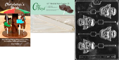 Cybrtrayd 45St25Bk-E402 'Hatching Chick Lolly' Easter Chocolate Candy Mold with 25 4.5-Inch Lollipop Sticks and Chocolatier's Guide
