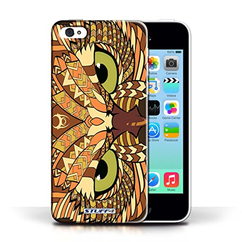 iCHOOSE Print Motif Coque de protection Case / Plastique manchon de telephone Coque pour Apple iPhone 5C / Collection Motif Animaux Aztec / Hibou-Orange