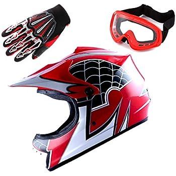 Motocross MX BMX Bike Youth Spider Red Helmet (Size: Medium) + Goggle + Skeleton Glove (Size: Medium)