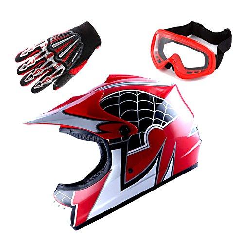 Motocross MX BMX Bike Youth Spider Red Helmet (Size : Large) + Goggle + Skeleton Glove (Size : Medium)