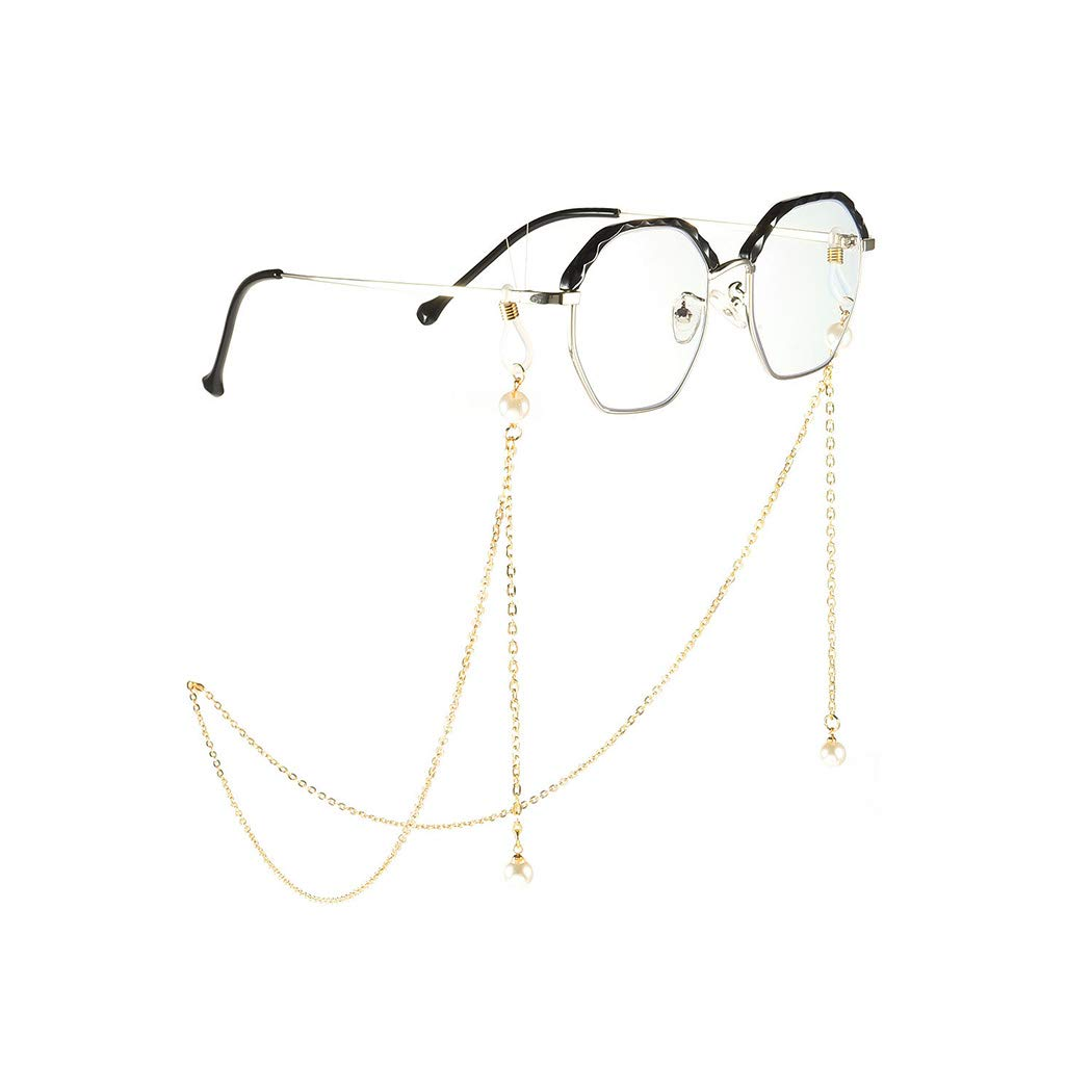Gold Yienate Bohemia Womens Eyeglass Chains with Pearl Chain Eyeglass Accessories Eyewear Retainer Eyeglass Strap Holder Sunglass Retainer Strap
