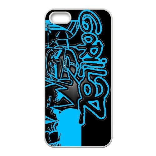 N8Q43 Gorrilaz E8U5VR coque iPhone 5 5s cellule de cas de téléphone couvercle coque blanche IG9JKM7XL