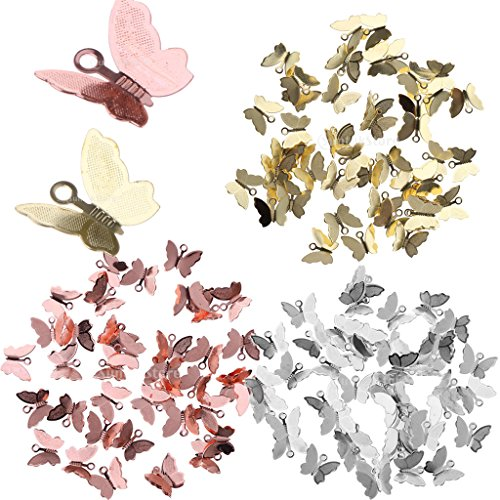 Jili Online 150 Pieces Vintage Butterfly Charms Pendant Filigree Wraps Connectors for Bracelet Necklace Jewelry Accessories Making DIY Craft Silver/Rose Gold/Gold