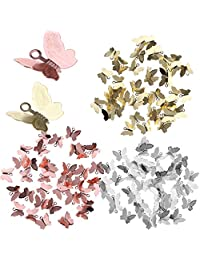 Fityle Pack of 150 Mixed Colors Butterfly Pendant Charms Beads for Bracelets Necklace Earring Chinese Hair Pins Clips DIY Materials