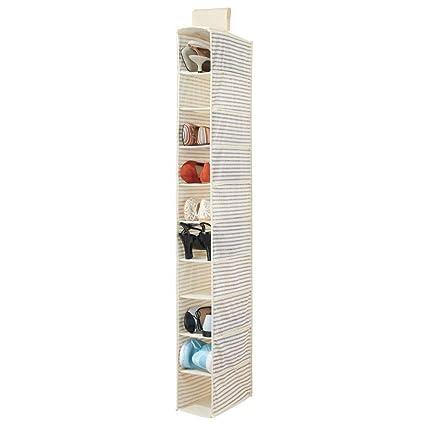 mDesign Organizador de zapatos para armario – Muebles zapateros para colgar con 10 compartimentos – Estanterías