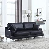 Ultra Modern Plush Bonded Leather Living Room Sofa with Chrome Leg detail (Black)