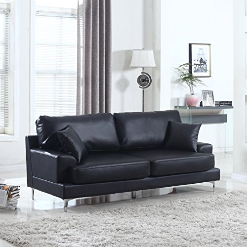Ultra Modern Plush Bonded Leather Living Room Sofa with Chrome Leg detail (Black)