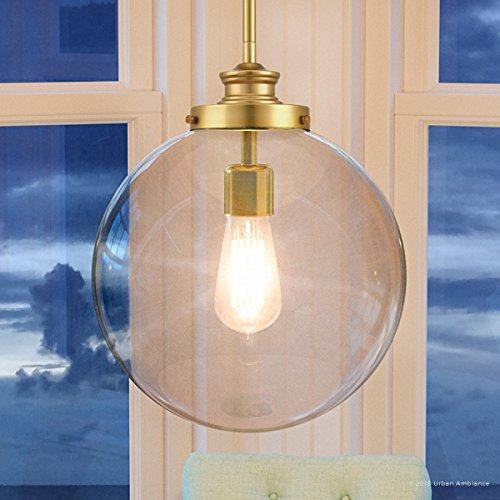 Gold Pendant Clear Satin (Luxury Vintage Pendant Light, Large Size: 15