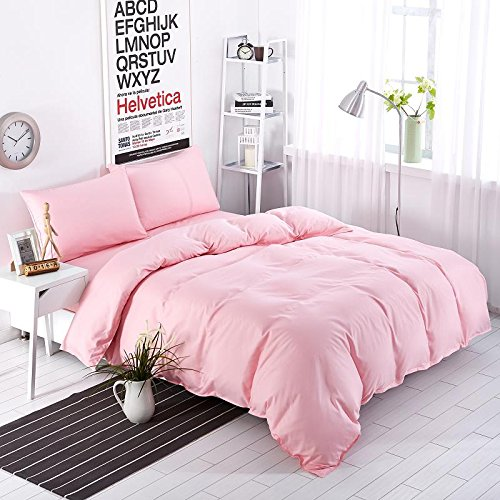 Moreover 100-Percent Microfiber Pink Bedding Solid Color Bedding Set One Flat Sheet One Duvet Cover Two Pillowcases 4PCS