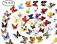 Butterfly Wall Decals, 24 Pcs 3D Butterfly Removable Mural Stickers Wall Stickers Decal Wall Decor for Home an