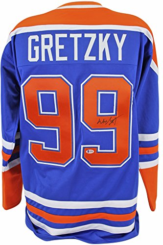 Oilers Wayne Gretzky Authentic Signed Blue Jersey Autographed BAS #A11043 Signed Autographed Oilers