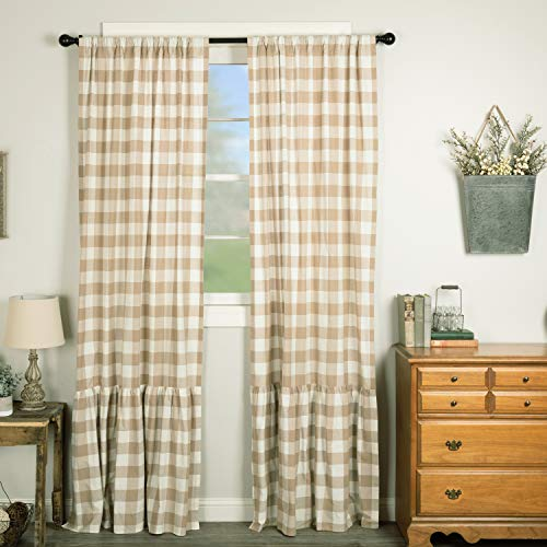 Piper Classics Rebecca High Ruffle Panel Curtains, Set of 2, 84