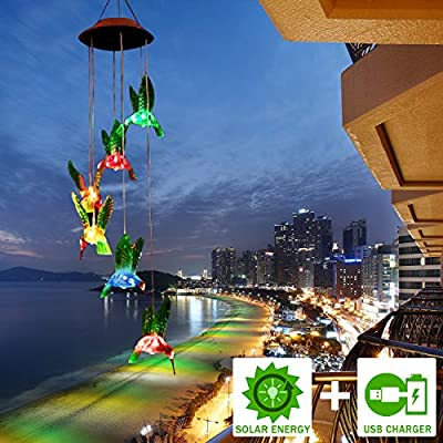 Solar Wind Chimes, FC-Fancier [2019 Upgrade] Charging by USB and Solar Energy Solar Hummingbird Wind Chime Color Changing Solar Mobile Wind Chime Outdoor Mobile Hanging Patio Light