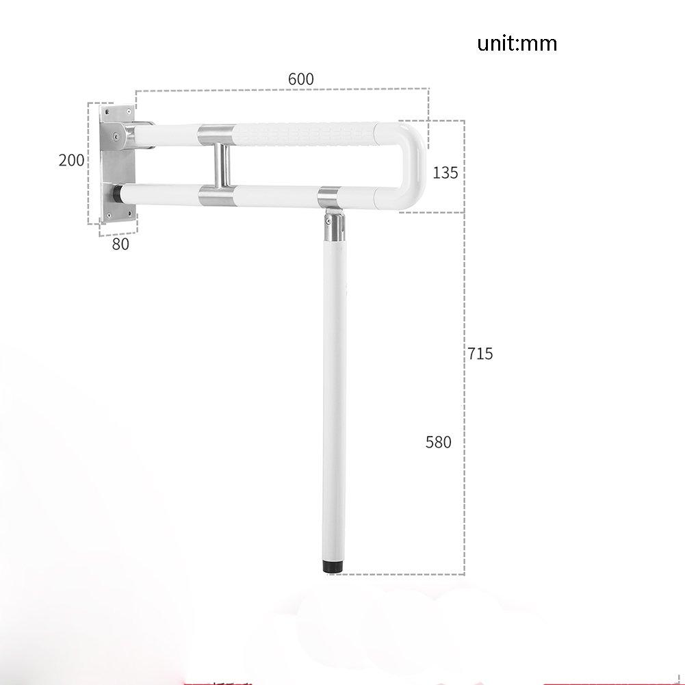 バスルームの手すりナイロンステンレス鋼は、ダブルポールの折り畳みを強化Upturningフロアタイプ白 ( 設計 : B , サイズ さいず : 60 cm 60 cm ) B07CNXNZZJ 60 cm 60 cm|B B 60 cm 60 cm