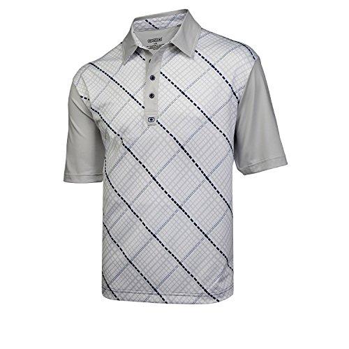 Ogio Men's Grid Golf Polo Shirt (XX-Large, White/Chrome/Indigo)