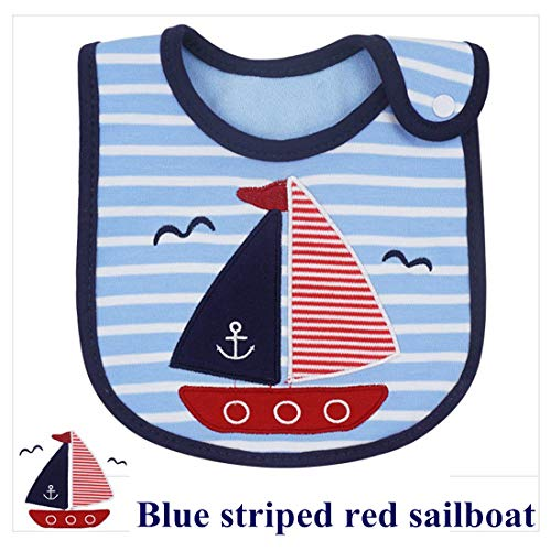 - Blue Stripes Red Sailboat Baby Bibs for Boys and Girls Waterproof Bibs Drooling and Teething Bibs pallems Drool Bibs Unisex