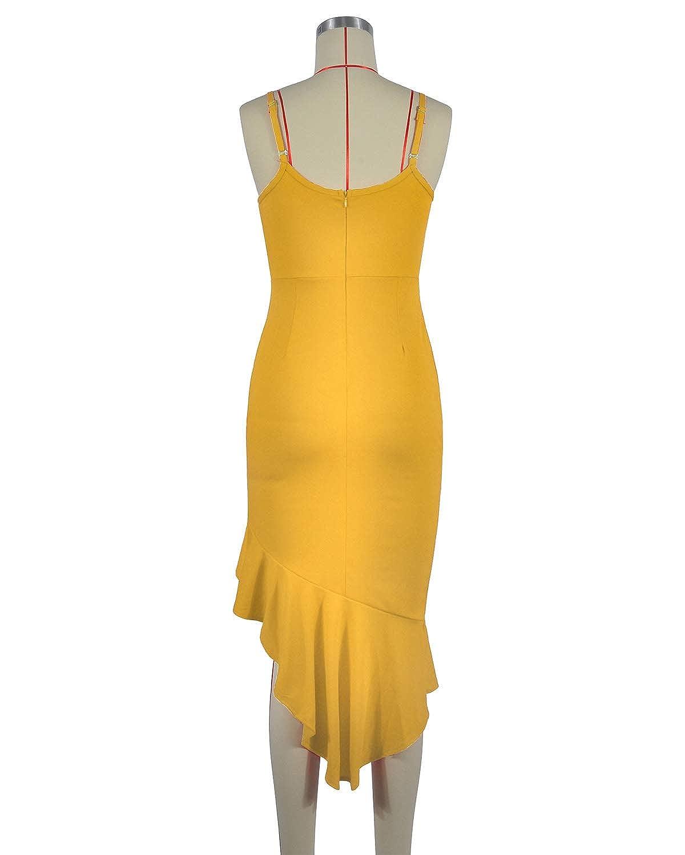 LANISEN Women Cap Sleeve Deep V Neck Midi Cocktail Dress Ruffled Asymmetrial Evening Party Fishtail Dress