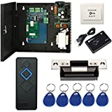 Complete TCP/IP Network Single Door Access Control Board System Kits with 110-240V Metal Power Supply Box + Electric ANSI Strike Lock+RFID Reader+Exit Button+Key Fobs (Phone APP remotely Open door)