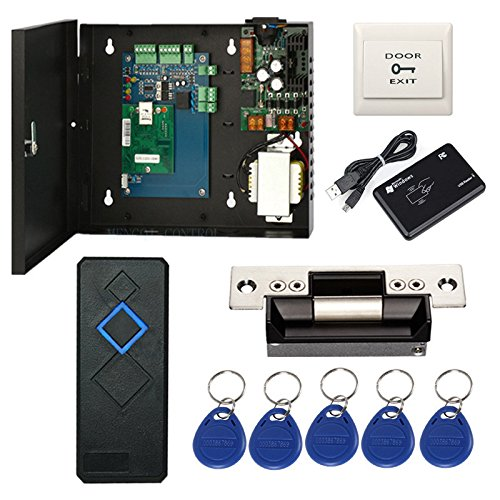 Security Electronic Control - Complete TCP/IP Network Single Door Access Control Board System Kits with 110V Metal Power Supply Box ANSI Standard North American Strike Lock+RFID Reader+Exit Button (Phone APP)