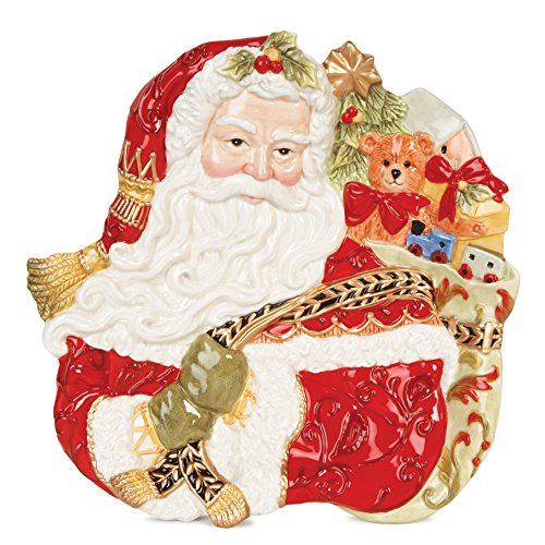 Fitz and Floyd Damask Holiday Collection Santa Face Canape Plate, Vintage Red & Gold ()