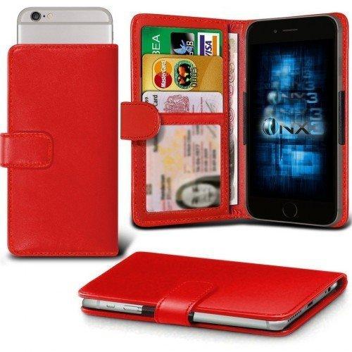 Alcatel Pop Up Titular de la tarjeta identificación de la carpeta de muelle ajustable cubierta de la caja (Rojo) Plus de regalo libre, Protector de pantalla y un lápiz óptico, Solicitar ahora mejor ca