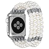 Fastgo for Apple Watch Band, Fashion Handmade Elastic Stretch Faux Pearl Bracelet Replacement iWatch Strap Women Girls for Apple Watch Series 3/2/1 All Versions