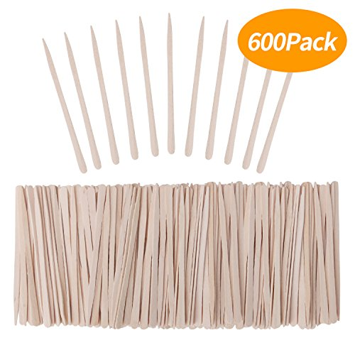 Senkary 600 Pieces Wooden Waxing Sticks Small Wax Sticks Wax Applicator Sticks Wood Wax Spatulas Sticks for Hair Eyebrow Nose Removal (Without Handle)