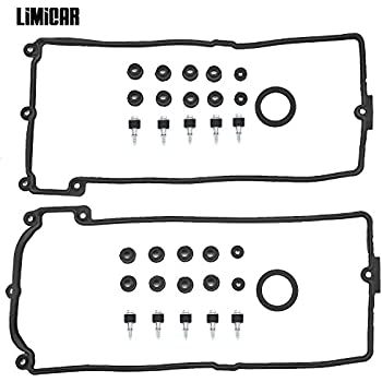LIMICAR Valve Cover Gaskets Kit Compatible with BMW 545i 550i 645Ci 650i 745i 745Li 750i 750Li Alpina B7 X5 4.4L 4.8L V8 11127513195 11 12 7 513 194