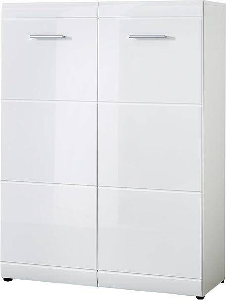 PEGANE Armoire Meuble à Chaussures Blanc avec 2 Portes et 1 tiroir, L 89 x H 120 x P 37 cm