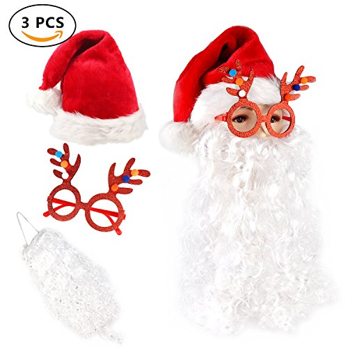 Santa Hat Christmas Cap with Fluffy Santa Claus Beard and Reindeer - Glasses With A Beard