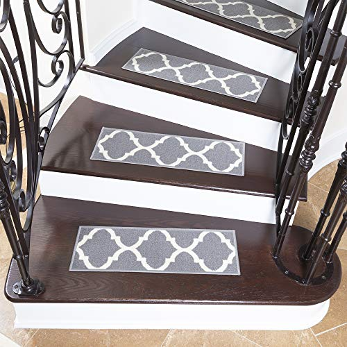 "Ottomanson Ottohome Collection Stair Tread, 8.5"" X 26"" Pack of 7, Gray"