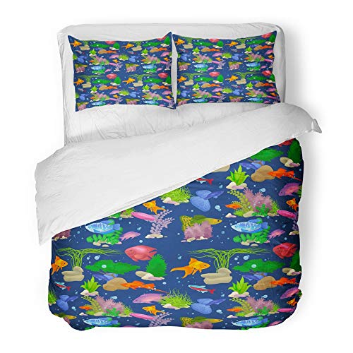 (Emvency 3 Piece Duvet Cover Set Brushed Microfiber Fabric Breathable Fish Swimming Under The Sea Animal in Ocean Water Underwater Tropical Life Bedding Set with 2 Pillow Covers Twin Size)