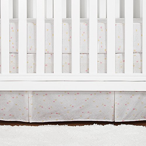 Bedskirt Pattern (Crib Bed Skirt Pleated with Printed Pattern, 100% Natural Cotton, Nursery Crib Bedding for Baby Boys or Girls, 14