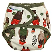 Best Bottom Cotton One Size AI2 Diaper Cover, Snap, Brawny Bears