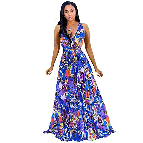 Womens Maxi Dresses Summer Sleeveless Wrap V Neck Chiffon Floral Beach Long Casual Dress Navy