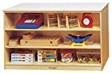 """Childcraft 074988 Durable Mobile Storage Peninsula, Double-Sided, All-Birch Veneer Panel, 4-Coat UV Acrylic, 29-1/4"""" Height, Natural Wood Tone"""