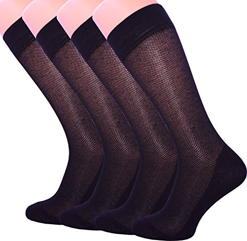 4 Pack Men's Ultra Thin Breathable Cotton Dress Socks (10-13, BLACK)