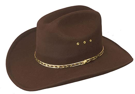 Brown Faux Felt Cowboy Hat with Gold Lining Band - Elastic Fit - Large XL a3dd933a1d3