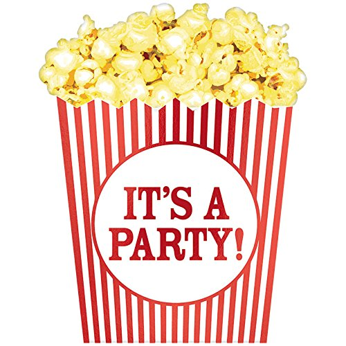 Movie Night Invitations - Amscan Party Supplies Movie Night Large Novelty Invitations, Multi