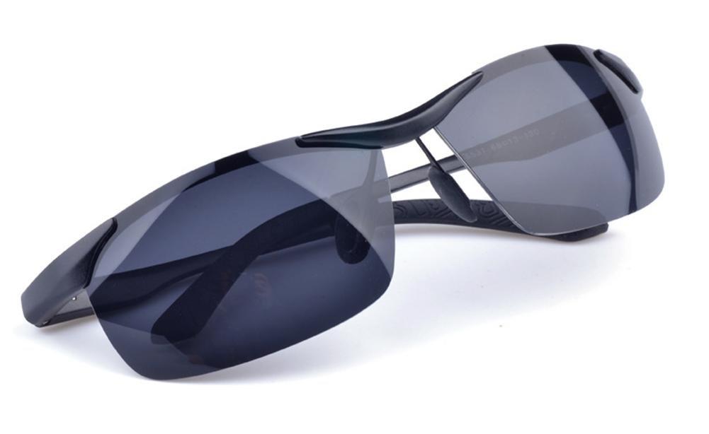 DZW Hochwertige Aluminium-Magnesium Polarisierte Sonnenbrillen Reitbrillen , black