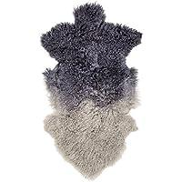 Bloomingville Tibetan Lamb Fur Rug, Navy/Grey