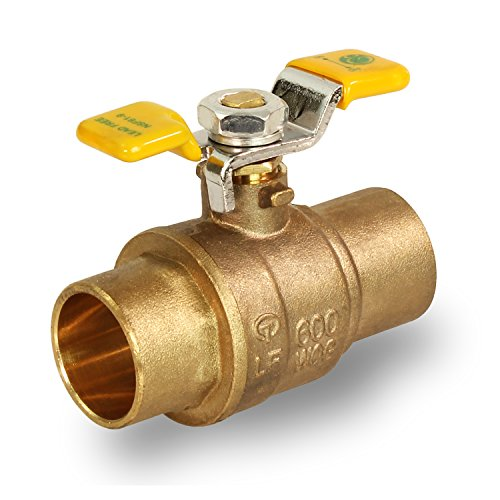 Everflow Supplies 615C034-NL Lead Free Full Port Sweat Ball Valve with Tee Handle, 3/4-Inch ()
