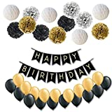 Todyt Happy Birthday Banner Party Decorations Set: Happy Birthday Banner, Honeycomb and Flowers Pom Poms (4 Plus 9) and 20 Latex Balloons. Party Supplies.