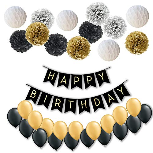 Todyt Happy Birthday Banner Party Decorations Set: Happy Birthday Banner, Honeycomb and Flowers Pom Poms (4 Plus 9) and 20 Latex Balloons. Party Supplies. - Birthday Party Honeycomb