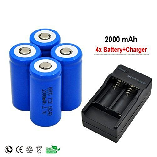 Ankong 4x 2000mah 3.7v Cr123a 16340 Li-ion Rechargeable Battery +Charger