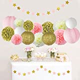 Pink and Gold Party Decorations, Pom Poms Flowers Kit + Star Paper Garland + Tissue Paper lantern for 1st Birthday Girl Decorations Kids Birthday Bridal Shower Baby Shower wedding by Litaus