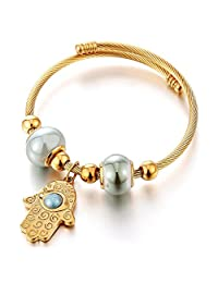 Womens Gold Color Hamsa Hand of Fatima Charm Bangle Bracelet Elastic Adjustable Steel Cuff Bangle