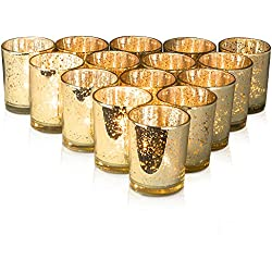 Granrosi Gold Mercury Votive Candle Holder Set of 15 - Made of Mercury Glass with A Speckled Gold Finish - Adds The Perfect Ambience to Your Wedding Or Home Decor